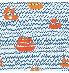 Sea and sailing ships seamless pattern hand drawn vector image