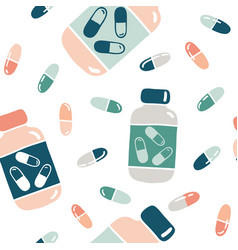 seamless pattern with pills and bottles vector image
