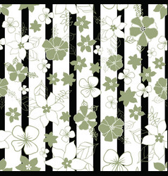 Seamless repeat floral and striped pattern design vector