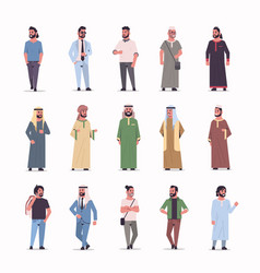 Set different arabic businessmen standing pose vector