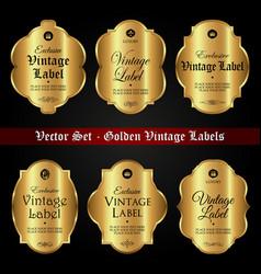 set golden vintage labels vector image