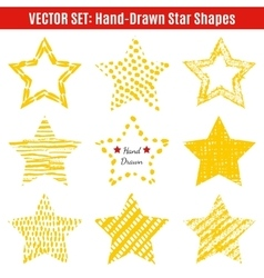 set hand-drawn textures star shapes vector image
