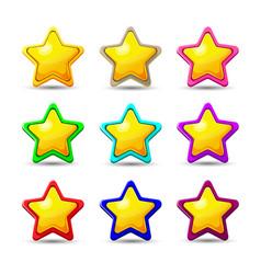 set of cartoon different stars vector image