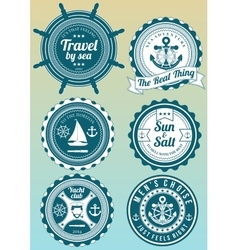 Set of colored round badges for sea and yacht club vector image