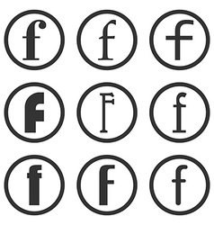 Set of Letters F Flat style icons for web vector image
