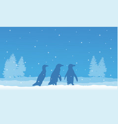 Silhouette of penguin and spruce scenery vector