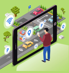 smart parking of wireless vector image