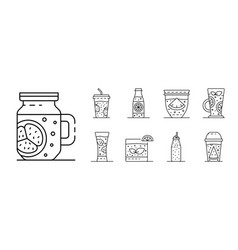 smoothie icon set outline style vector image
