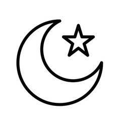 Star and crescent ramadan related line icon vector