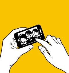 Taking a selfie - photo of friends vector image
