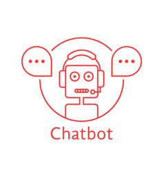 Thin line chatbot like hotline service vector