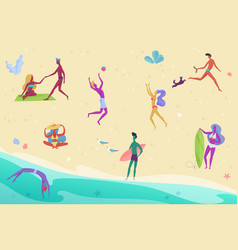 tiny people and couples on vacation beach top view vector image