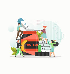 Tiny people making whey protein powder vector