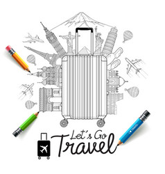tourism and travel doodles art style vector image