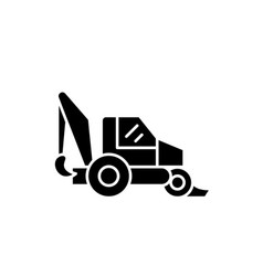 tractor black icon sign on isolated vector image