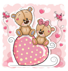 Two bears is sitting on a heart on a pink vector