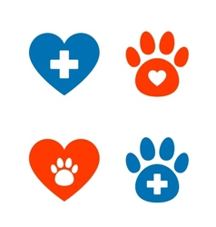 veterinarian icons set vector image