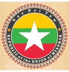 Vintage label cards myanmar flag vector