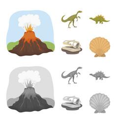 Volcanic eruption gallimimus stegosaurus vector