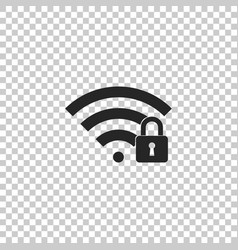 wifi locked sign icon on transparent background vector image