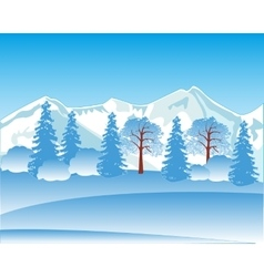 Winter landscape with mountain and wood vector