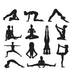 Yoga or pilates poses silhouettes vector
