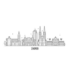 zagreb skyline croatia big city buildings vector image