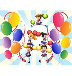 A cheering squad in the middle of the balloons vector image vector image
