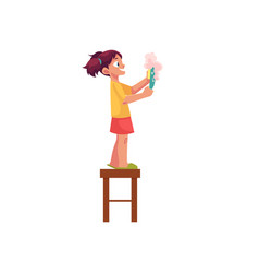 little girl washing a plate standing on stool vector image vector image