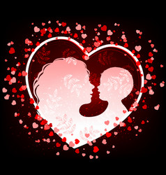 silhouette mother and baby in heart vector image