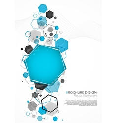 Abstract blue background with hexagon vector image vector image