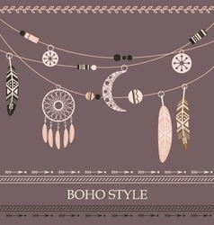 Boho style background with arrows beads vector