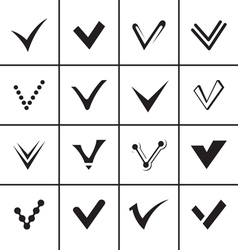 Confirm signs and tick icons set vector image