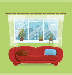 Living room cozy interior vector