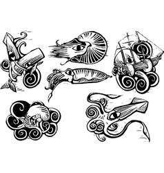 Octopus Squid Group vector image vector image