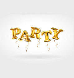 party gold letter metallic balloons characters in vector image
