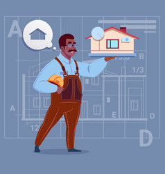 cartoon african american builder holding small vector image vector image