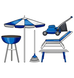 Gardening tool and bbq stove vector