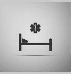 hospital bed with star of life icon isolated vector image vector image