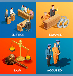 justice isometric design concept vector image vector image