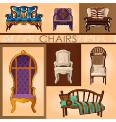 Set of seven chairs in retro and modern style vector image
