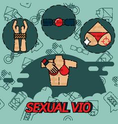 sexual vio flat icons set vector image