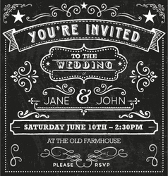 Wedding Chalkboard Invitation Elements vector image vector image
