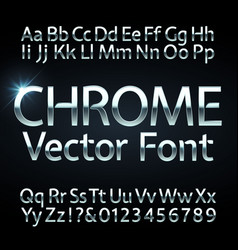 chrome steel or silver letters and numbers vector image vector image