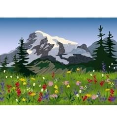 Landscape summer alpine medow poster vector image vector image