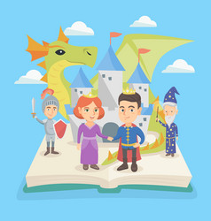 open book with castle and characters of fairytale vector image vector image