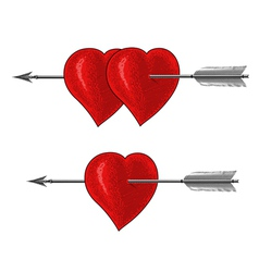 Vintage Heart with Arrow in engraving style vector image vector image