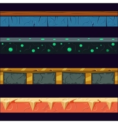 Alien planet platformer level floor design set vector