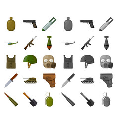 Army and armament cartoonmono icons in set vector