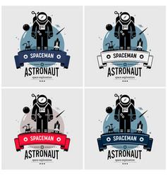 astronaut spaceman logo design artwork of space vector image